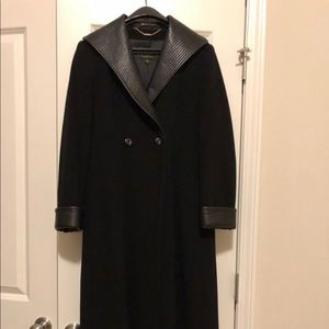 St John Wool with Leather Trim Full length Coat